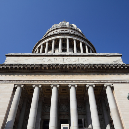 capitolio: Havana, Cuba - city architecture. Famous National Capitol (Capitolio Nacional) building. Square composition.