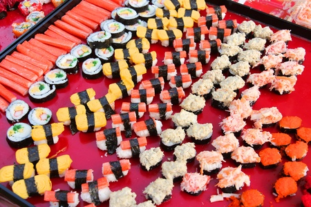 Food market in Bangkok, Thailand. Sushi buffet choice - Asian cuisine. photo