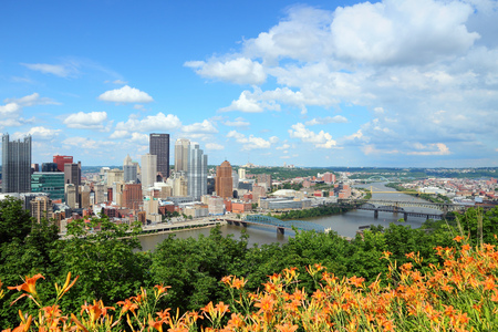 Pittsburgh, Pennsylvania - city in the United States. Skyline with Monongahela River. photo