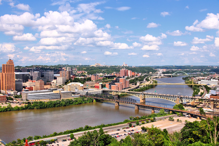 Pittsburgh, Pennsylvania - city in the United States. Skyline with bridges Monongahela River. photo