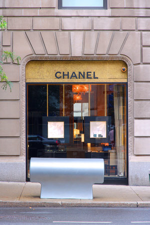 NEW YORK, USA - JULY 1, 2013: Chanel fashion store in Madison Avenue, New York. The famous brand exists since 1909 and had 6.3 billion EUR revenue in 2012.