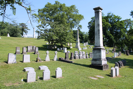 allegheny: PITTSBURGH, USA - JUNE 30, 2013: Allegheny Cemetery in Pittsburgh, Pennsylvania, USA. It dates back to 1844 and covers 300 acres of land.