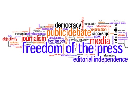 censor: Freedom of the press issues and concepts word cloud illustration. Word collage concept. Stock Photo