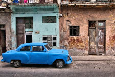 capita: HAVANA, CUBA - FEBRUARY 27, 2011: Vintage oldtimer car parked in the street of Havana, Cuba. Cuba has one of the lowest car-per-capita rates (38 per 1000 people in 2008). Editorial