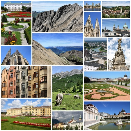 Photo collage from Austria. Collage includes major cities like Vienna, Salzburg, Innsbruck and Linz. Also Tirol Alps landscapes.