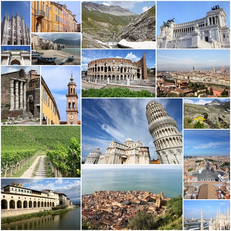 Photo collage from Italy. Collage includes major landmarks like Rome, Milan, Florence, Pisa, Parma, Modena and Cefalu. photo