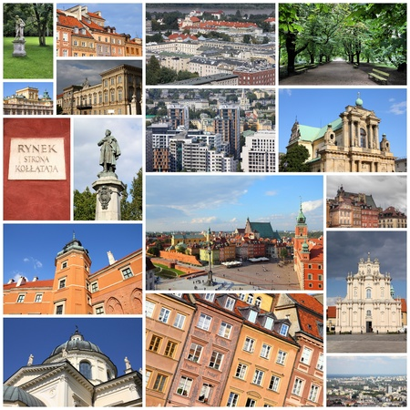Photo collage from Warsaw, Poland. Collage includes major landmarks like the main square, Wilanow and Castle Square.