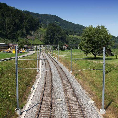 st  gallen: Las v�as del ferrocarril en Cant�n de St. Gallen, Suiza. Plaza de la composici�n.