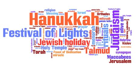 word collage: Hanukkah celebration concepts word cloud illustration. Word collage concept.