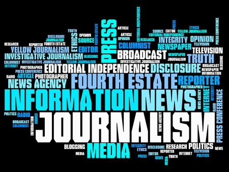 Journalism and press issues and concepts word cloud illustration. Word collage concept. illustration