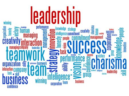 Leadership and teamwork word cloud illustration. Word collage concept. illustration