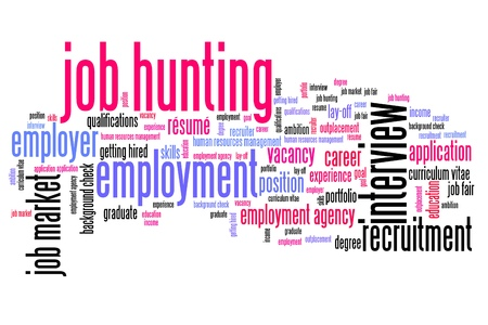 job interview: Job search issues and concepts word cloud illustration. Word collage concept.