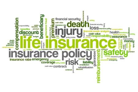 wort: Lebensversicherungskonzepte Wortwolke Abbildung. Word-Collage Konzept.