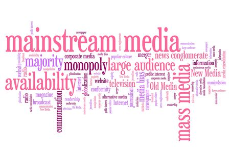 mainstream: Mainstream media issues and concepts word cloud illustration. Word collage concept. Stock Photo