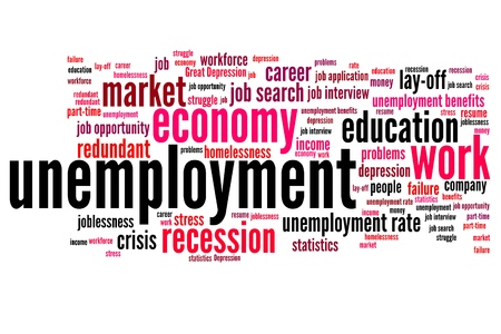 Unemployment issues and concepts word cloud illustration. Word collage concept. illustration