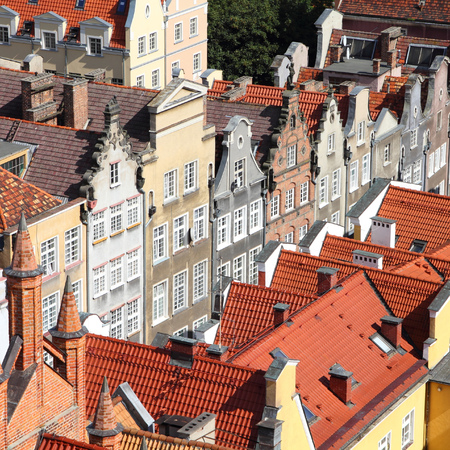 nas: Poland - Gdansk city (also know nas Danzig) in Pomerania region. Old town aerial view. Square composition. Stock Photo