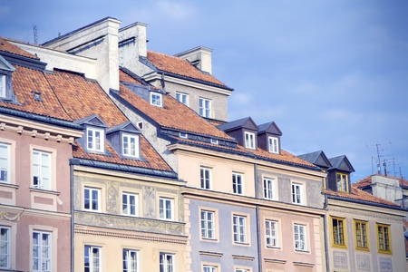 rynek: Warsaw, Poland. Old Town - tenements at the main square.  Stock Photo