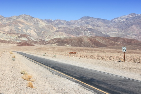 alluvial: Mojave Desert in California, United States. Scenic view of famous Artist Drive in Death Valley National Park (Inyo County). It is an alluvial fan of Black Mountains.