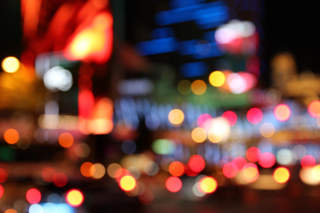 city lights: Las Vegas, Nevada, United States. Defocused city lights - colorful night view. Stock Photo