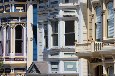 San Francisco, California, United States - famous Painted Ladies, Victorian homes at Alamo Square (Western Addition neighborhood). photo