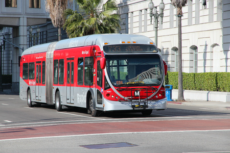 LOS ANGELES, USA - APRIL 5, 2014: People ride a Metro bus in Los Angeles. Typical monthly ridership of Metro buses in LA area is 30 million rides (March 2014).