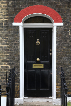 London, United Kingdom - typical colorful Victorian architecture door. photo