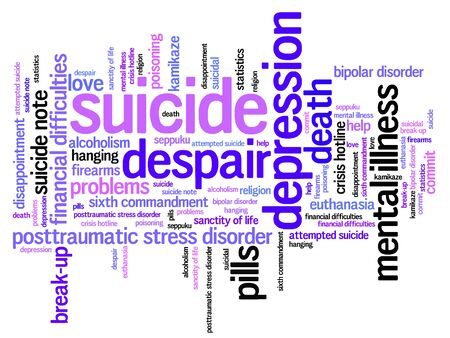 misery: Suicide and depression issues and concepts word cloud illustration. Word collage concept. Stock Photo