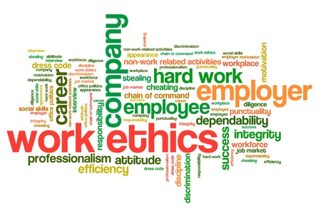 Work ethics issues and concepts word cloud illustration. Word collage concept. Stock Photo