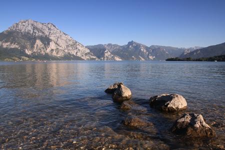 upper austria: Upper Austria - Traunsee lake in Gmunden. Salzkammergut region.