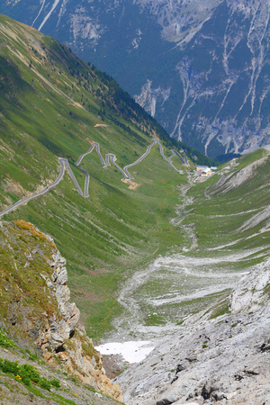 Italy, Stelvio National Park. Famous road to Stelvio Pass in Ortler Alps. Alpine landscape. photo