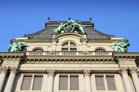 st gallen: St. Gallen, Switzerland - beautiful old landmark. Vintage bank architecture.