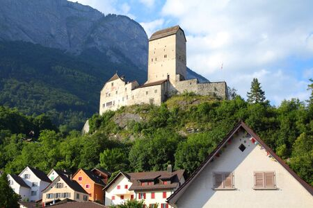 sargans: Sargans castle in Sarganserland region of canton St. Gallen. Alps in Switzerland.