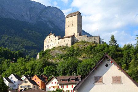 sargans: Sargans castle in Sarganserland region of canton St. Gallen. Alps in Switzerland.