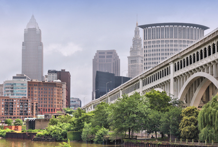 Cleveland, Ohio in den Vereinigten Staaten. Skyline der Stadt. Standard-Bild - 28022528