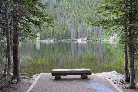 bear lake: Rocky Mountain National Park in Colorado, USA. Bear Lake - bench with scenic view. Stock Photo