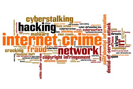 stalking: Internet crime (hacking, stalking and malware) issues and concepts word cloud illustration. Word collage concept.