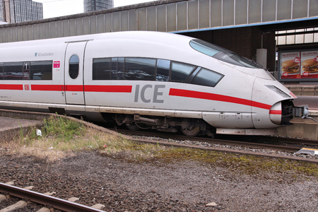 intercity: DORTMUND, GERMANY - JULY 16, 2012: ICE train of Deutsche Bahn in Dortmund, Germany. In 2009 ICE Express trains transported more than 77 million passengers.