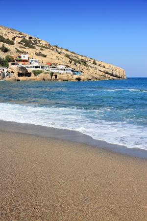 shingle beach: Coast of Crete island in Greece. Shingle beach of famous Matala.