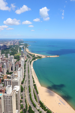 lakefront: Chicago, Illinois in the United States. City skyline with Lake Michigan and Gold Coast historic district, North Side and Lincoln Park.
