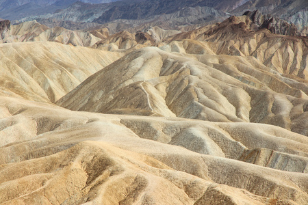 Mojave Desert in California, United States. Scenic view of Zabriskie Point in Death Valley National Park (Inyo County). Erosional landscape of sediments in Amargosa Range mountains.