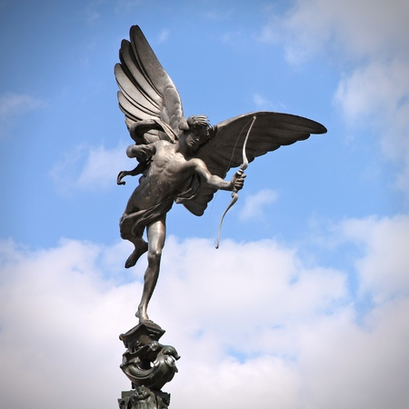 eros: London, United Kingdom - famous Eros statue at Piccadilly Circus. Square composition.