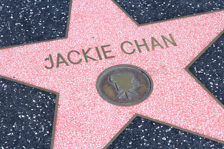 north hollywood: LOS ANGELES, USA - APRIL 5, 2014: Jackie Chan star at famous Walk of Fame in Hollywood. Hollywood Walk of Fame features more than 2,500 stars with inscribed celebrity names.