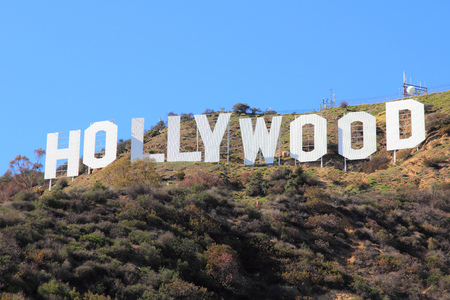 LOS ANGELES, USA - APRIL 5, 2014: Hollywood Sign in Los Angeles. The sign was originally created in 1923 and is a Los Angeles Historic-Cultural Monument. Reklamní fotografie - 28723847