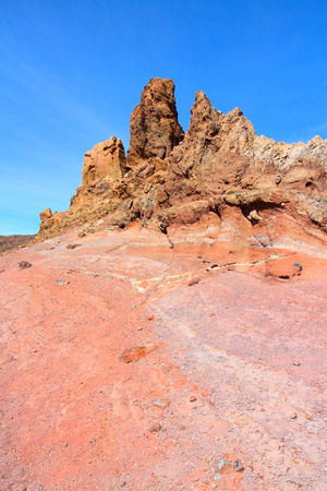 Tenerife, Canary Islands, Spain. Roques de Garcia - rock formations in volcano Teide National Park. Mount Teide photo