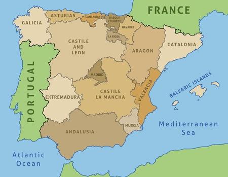 Mapa de España. Esquema ilustración del mapa del país las comunidades autónomas.