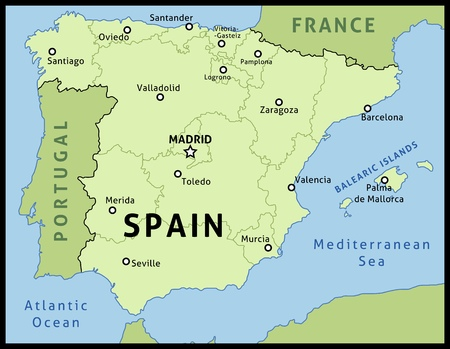 Map of Spain. Outline illustration country map with main cities in autonomous communities. Ilustração