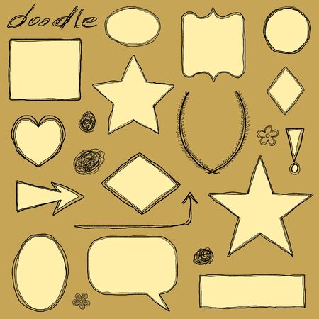 Doodle illustration collection with various flowers and leaves. Floral scribble set. Vector