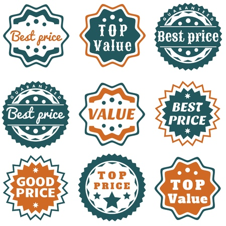 Best price guarantee stickers - value certificate marks. Deal stamp for your product. Vector