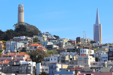 telegraph hill: San Francisco, California, United States - city skyline with Telegraph Hill.