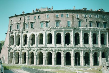 cross processed: Rome, Italy - Teatro Marcello, ancient Roman theatre. Cross processed color style - retro image filtered tone.